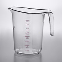 Choice 4 Qt. (16 Cups) Allergen Free Clear Plastic Measuring Cup with Purple Print and Gradations