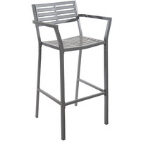 BFM Seating SU1801BSG Daytona Powder Steel Gray Bar Height Arm Chair