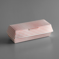 7 inch x 2 3/4 inch x 2 1/2 inch Red Plaid / Star Hinged Paper Hot Dog Clamshell Container - 100/Pack