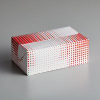 Customizable 7 inch x 4 1/4 inch x 2 3/4 inch Red Plaid / Dot Take-Out Lunch / Chicken Box with Fast Top - 250/Case