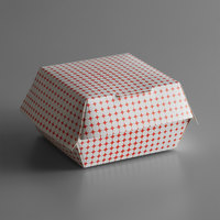 4 inch x 4 inch x 2 3/4 inch Red Plaid / Star Hinged Paper Sandwich Clamshell Container - 500/Case