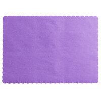 Choice 10 inch x 14 inch Lavender Colored Paper Placemat with Scalloped Edge   - 1000/Case