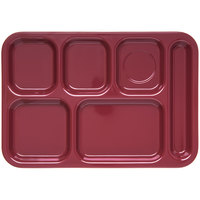 Carlisle 4398885 Dark Cranberry 10 inch x 14 inch Heavy Weight Melamine Right Hand 6 Compartment Tray