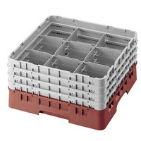 Cambro 9S318416 Cranberry Camrack 9 Compartment 3 5/8 inch Glass Rack