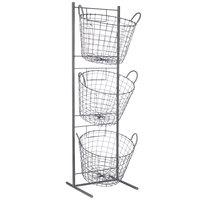 13 inch x 14 inch x 45 inch 3 Tier Round Wire Basket Merchandising Display