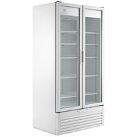 Beverage-Air MT34-1-W 39 1/2 inch Marketeer Series White Refrigerated Glass Door Merchandiser with LED Lighting