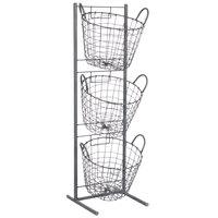10 1/2 inch x 11 3/4 inch x 35 1/4 inch 3 Tier Round Wire Basket Merchandising Display