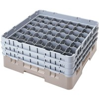Cambro 49S434184 Beige Camrack Customizable 49 Compartment 5 1/4 inch Glass Rack