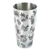 Barfly M37092 28 oz. Stainless Steel Full Size Shaker Tin with Tiki Pattern