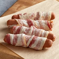 Kunzler 5 1/4 inch Bacon-Wrapped Cheddar and Pepper Sausage Roller - 50/Case