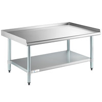 Steelton 30 inch x 48 inch 18-Gauge Stainless Steel Equipment Stand with Undershelf and Galvanized Legs