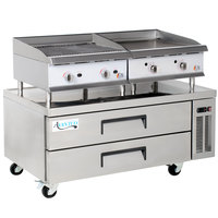 Cooking Performance Group 24GTCRBNL 24 inch Heavy-Duty Gas Griddle and Gas Radiant Charbroiler with 2 Drawer Refrigerated Chef Base - 140,000 BTU