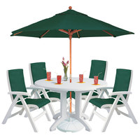 Grosfillex USPCT001 White Outdoor Melamine Table with 4 Chairs, Umbrella, and Umbrella Base