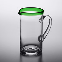 Acopa Tropic 50 oz. Glass Pitcher with Green Rim