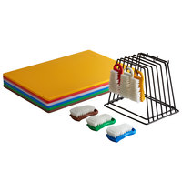 24 inch x 18 inch x 1/2 inch 6-Board Color-Coded Cutting Board System with Rack and 6 Brushes