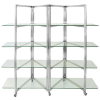 Eastern Tabletop ST1880G 80 inch x 18 inch x 72 inch Stainless Steel Square Rolling Buffet Set with Glass Shelves