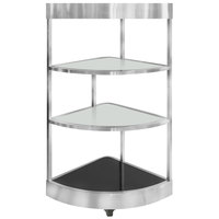 Eastern Tabletop ST1870G 33 1/2 inch x 22 inch x 57 1/4 inch Stainless Steel Rolling Buffet Set with Glass Shelves