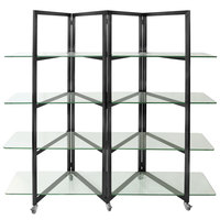 Eastern Tabletop ST1880GMB 80 inch x 18 inch x 72 inch Black Stainless Steel Square Rolling Buffet Set with Glass Shelves