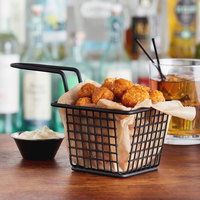 Choice 4 inch x 4 inch x 3 inch Black Square Mini Fry Basket