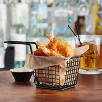 Choice 4 inch x 3 inch x 3 inch Black Rectangular Mini Fry Basket