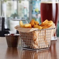 Choice 4 inch x 4 inch x 3 inch Chrome Square Mini Fry Basket