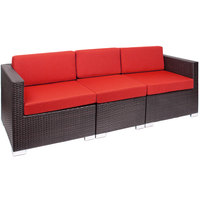 BFM Seating PH5101JVW-5477 Aruba Java Wicker Outdoor / Indoor Sectional Sofa with Logo Red Cushions