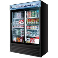 Turbo Air TGM-48RB Black 56 inch Two Sliding Glass Door Refrigerated Merchandiser - 48 Cu. Ft.