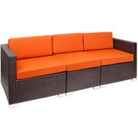 BFM Seating PH5101JVW-54010 Aruba Java Wicker Outdoor / Indoor Sectional Sofa with Rust Canvas Cushions