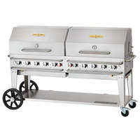 Crown Verity CV-RCB-72RDP-SI-BULK 72 inch Pro Series Outdoor Rental Grill with Single Gas Connection, Bulk Tank Capacity, and Double Roll Dome Package