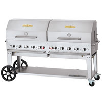 Crown Verity CV-MCB-72-SI-BULK-RDP Liquid Propane 72 inch Mobile Outdoor Grill with Single Gas Connection, Bulk Tank Capacity, and Roll Dome Package