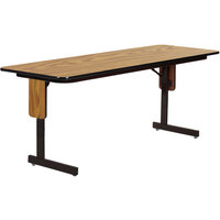 Correll SP2496PX-06 24 inch x 96 inch Medium Oak Finish Rectangular High Pressure Folding Seminar Table with Panel Leg