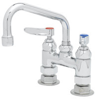 T&S B-0228 Deck Mounted Pantry Faucet with 4 inch Adjustable Centers, 6 inch Swing Nozzle, and Eterna Cartridges
