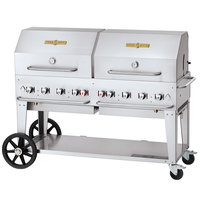Crown Verity CV-MCB-60-SI50/100-RDP Liquid Propane 60 inch Mobile Outdoor Grill with Single Gas Connection, 50-100 lb. Tank Capacity, and Double Roll Dome Package