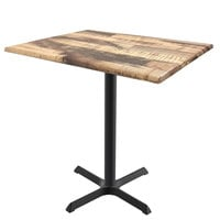 Holland Bar Stool OD211-3036BWOD3248Rustic 32 inch x 48 inch Rustic Outdoor / Indoor Counter Height Table with Cross Base