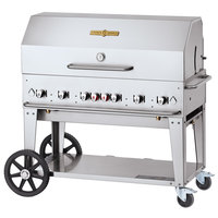 Crown Verity CV-MCB-48-SIBULK-RDP Liquid Propane 48 inch Mobile Outdoor Grill with Single Gas Connection, Bulk Tank Capacity, and Roll Dome Package