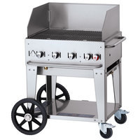 Crown Verity CV-MCB-30WGP-NG Natural Gas 30 inch Mobile Outdoor Grill with Wind Guard Package