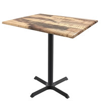 Holland Bar Stool OD211-3042BWOD3248Rustic 32 inch x 48 inch Rustic Outdoor / Indoor Bar Height Table with Cross Base
