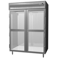 Delfield SAR2N-GH Stainless Steel 44 Cu. Ft. Two Section Glass Half Door Narrow Reach In Refrigerator - Specification Line