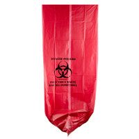 40-45 Gallon 40 inch x 48 inch Red Isolation Infectious Waste Bag / Biohazard Bag High Density 17 Microns - 200 / Case