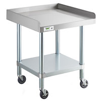 Regency 24 inch x 24 inch 16-Gauge 304 Stainless Steel Equipment Stand with Galvanized Legs, Undershelf, and Casters