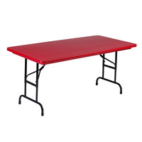 Correll R-Series R3060 30 inch x 60 inch Red Plastic Folding Table