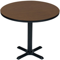 Correll BXT48R-01 48 inch Round Walnut Finish / Black Table Height High Pressure Cafe / Breakroom Table