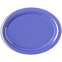 """Carlisle 4308014 Durus 13 1/2"""" Ocean Blue Oval Melamine Platter - 12/Case"""