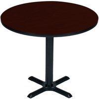 Correll BXT48R-20 48 inch Round Mahogany Finish / Black Table Height High Pressure Cafe / Breakroom Table