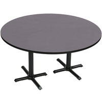 Correll BCT60R-07 60 inch Round Black Granite Finish / Black Table Height High Pressure Cafe / Breakroom Table with Two Cross Bases