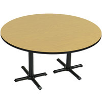 Correll BCT60R-16 60 inch Round Fusion Maple Finish / Black Table Height High Pressure Cafe / Breakroom Table with Two Cross Bases