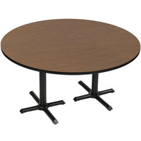 Correll BCT60R-01 60 inch Round Walnut Finish / Black Table Height High Pressure Cafe / Breakroom Table with Two Cross Bases