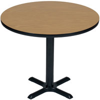 Correll BXT30R-06 30 inch Round Medium Oak Finish / Black Table Height High Pressure Cafe / Breakroom Table