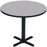 Correll BXT30R-15 30 inch Round Gray Granite Finish / Black Table Height High Pressure Cafe / Breakroom Table