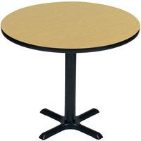 Correll BXT48R-16 48 inch Round Fusion Maple Finish / Black Table Height High Pressure Cafe / Breakroom Table
